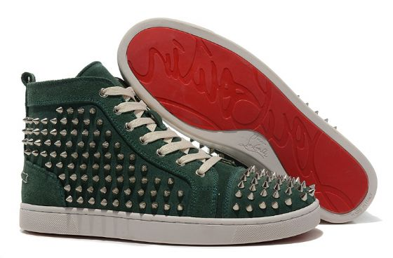 buy popular 88a7e a2cb8 1:1 Replica Shoes High Tops Green Rivet Christian Louboutin ...